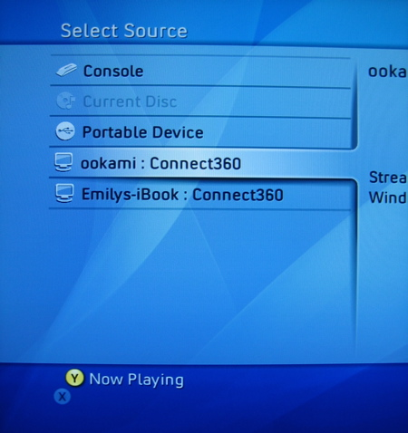 Xbox 360 2007 Fall Dashboard Update - Select Source Screen
